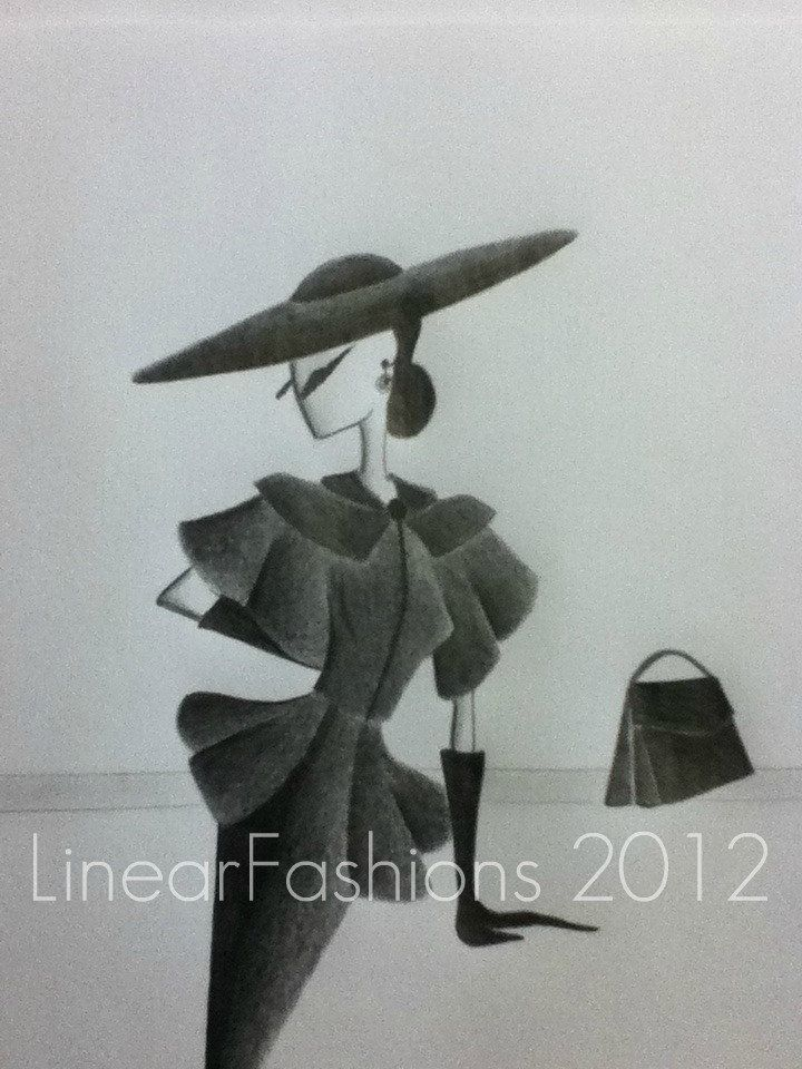 Fashion Illustration 50s New Look Christian Dior Style Suit.