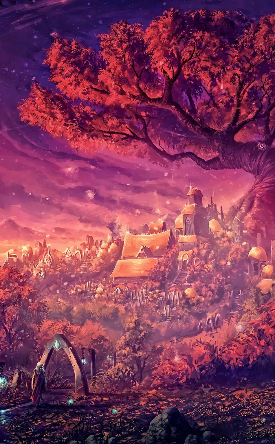 950x1534 Fantasy Dreamy Forest Painting Art Wallpaper