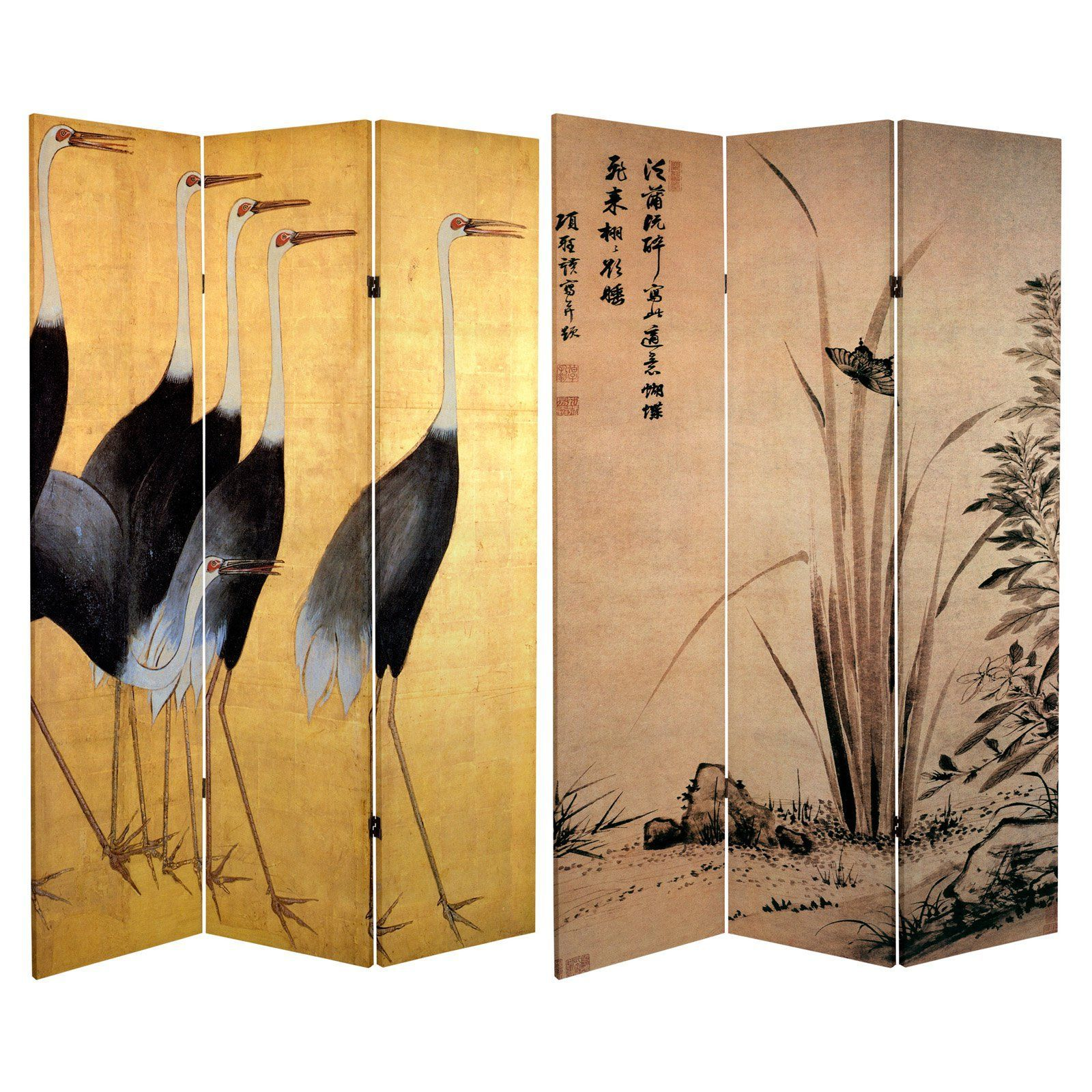 Oriental furniture double sided cranes panel room divider can