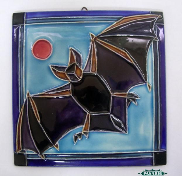 Vintage Handmade Bat Ceramic Tile By Gofer Israel 1950 S