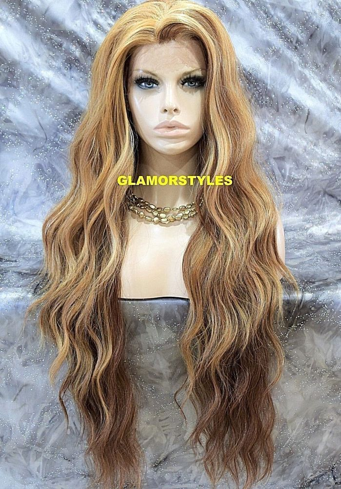Lace Front Full Wig Extra Long Beach Wavy Strawberry Blonde Auburn Mix Heat Ok Full Lace Front Wigs Strawberry Blonde Wigs
