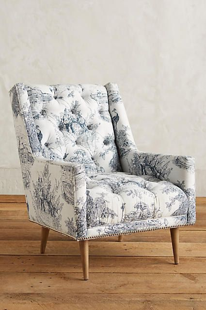 This armchair offers all the charm of an antique pattern without the old, creaky furniture.   19 Items Anyone Obsessed With Toile Print Will Freaking Love
