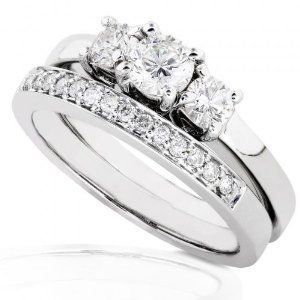 3 8ctw Three Stone Round Brilliant Diamond Wedding Ring Set In 14kt White Gold