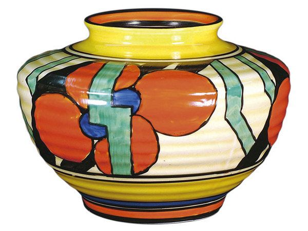 A Clarice Cliff Red Picasso Flower Pattern Bizarre Vase Shape 356