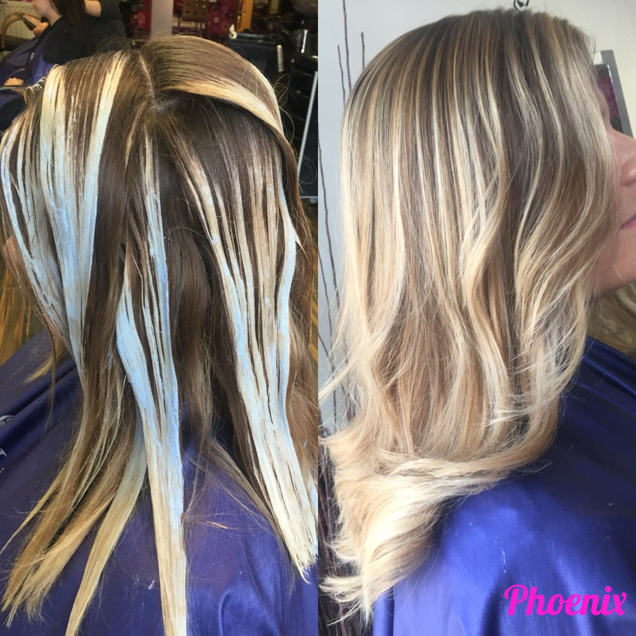 Balayage Processing Picture Blonde Hair Freehand Hair Painting