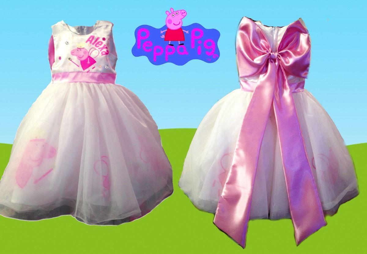 e0d43ec26 vestido para fiesta personalizado peppa pig presentacion Vestidos Para Niñas
