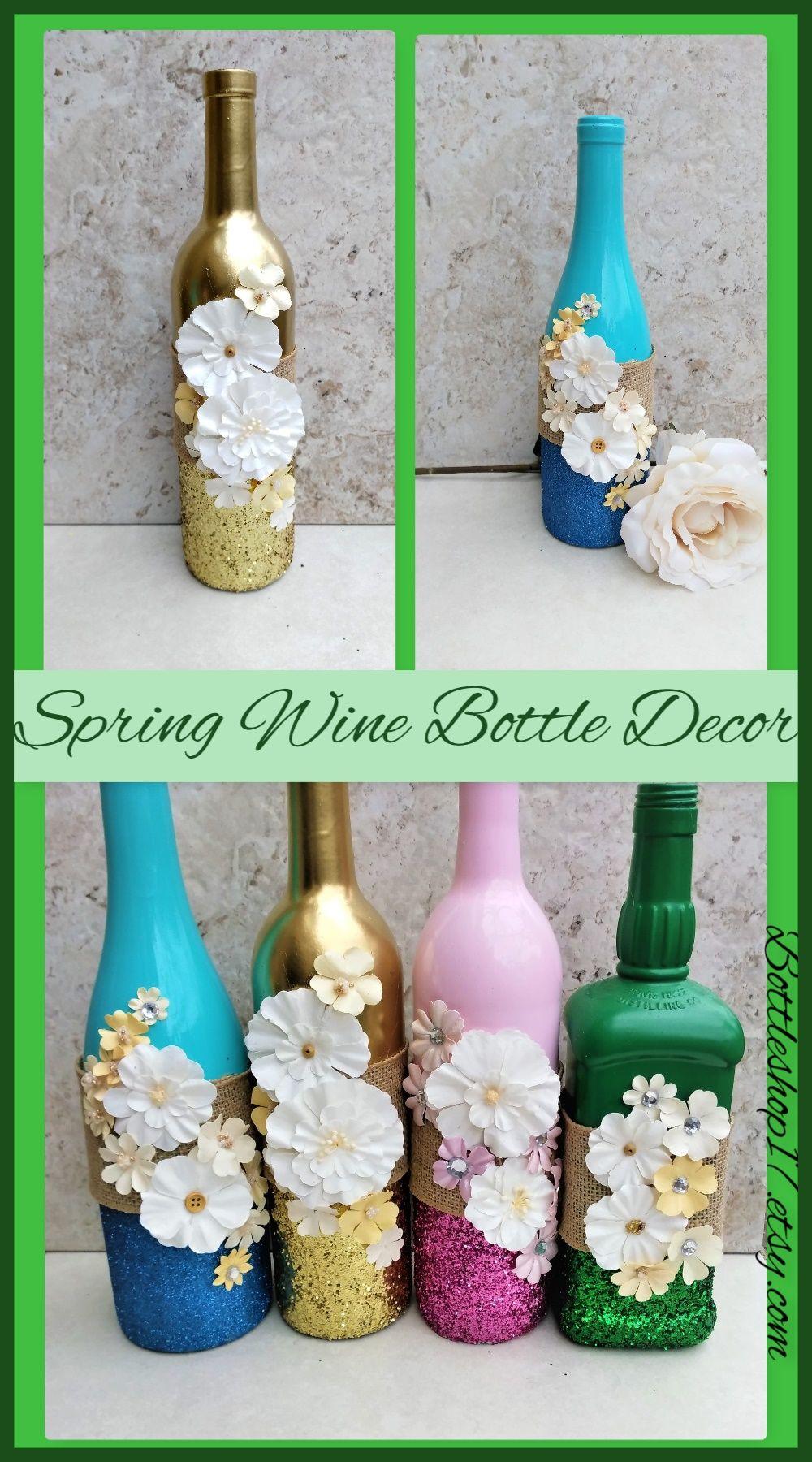 Centerpiece with Flowers, Spring Wine Bottles, Flower Decor, Wine ...