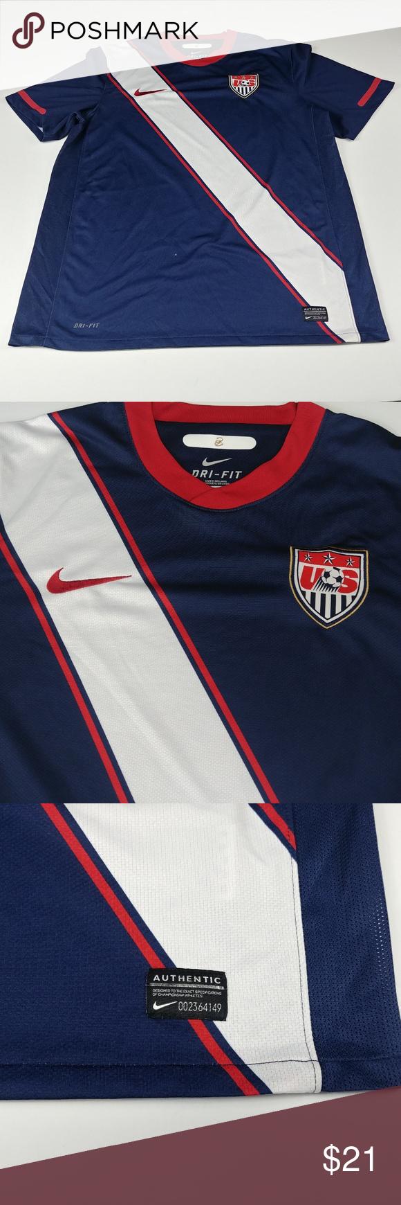 f586f97f9e1 Nike Mens USMNT USA Soccer Jersey Large L Blue Nike Mens USMNT USA Soccer  Jersey Large