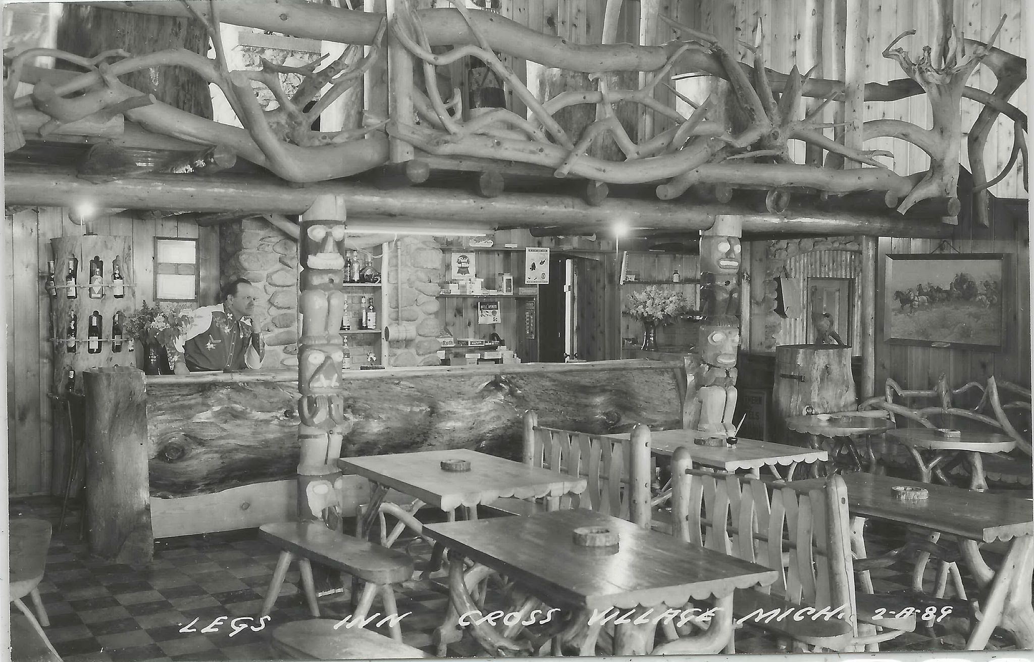 Nw Cross Village Mi Rppc 1950s Legs Inn Bar And Cottages Interior Owner Stan Smolaknehind Bar He Was Known As Chief White Cloud He Willed Business To Smolak Fam Cottage Interiors