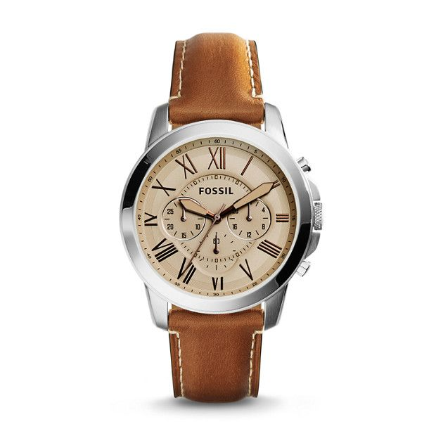 watch amazon com hand fossil dp leather commuter s three date light brown men watches the