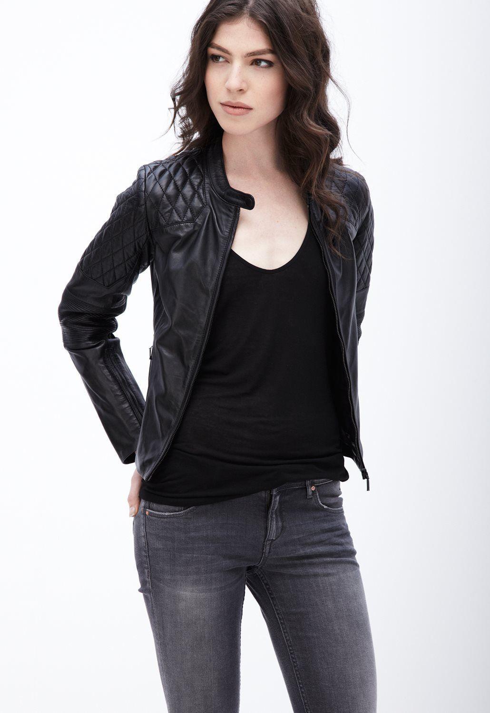 Women Leather Jacket Black Slim Fit Biker Motorcycle lambskin Size S M L XL XXL