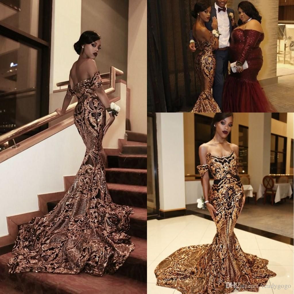 3acd1e7fcec5 2018 New Luxury Gold Black Prom Dresses Mermaid Off Shoulder Sexy African Prom  Gowns Vestidos Special Occasion Dresses Evening Wear Prom Dress with Sleeve  ...