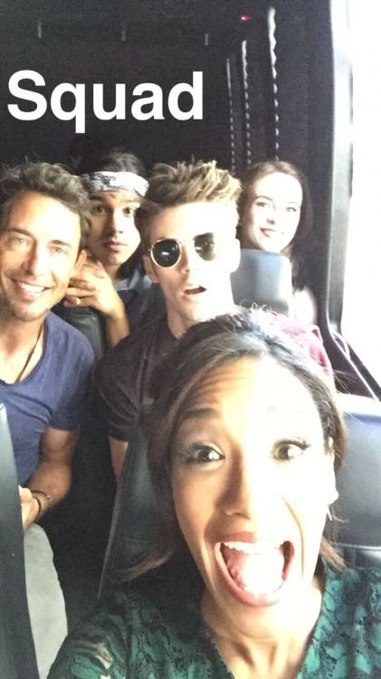 The flash cast in a bus #selfie # grantgustin | the flash