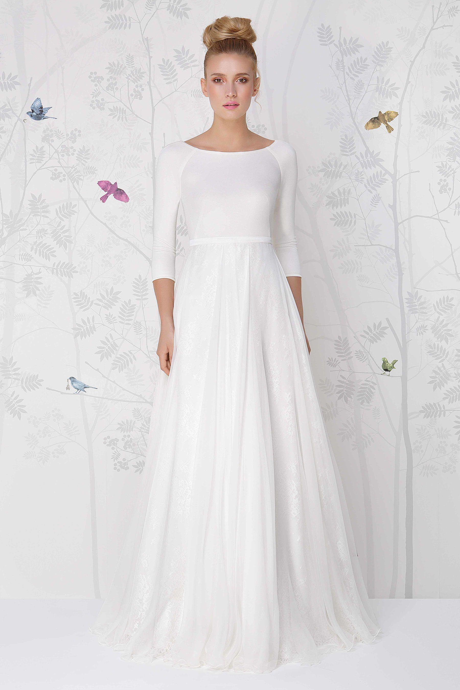 SADONI wedding dress LOLITA with silk jersey top and flowy silk ...