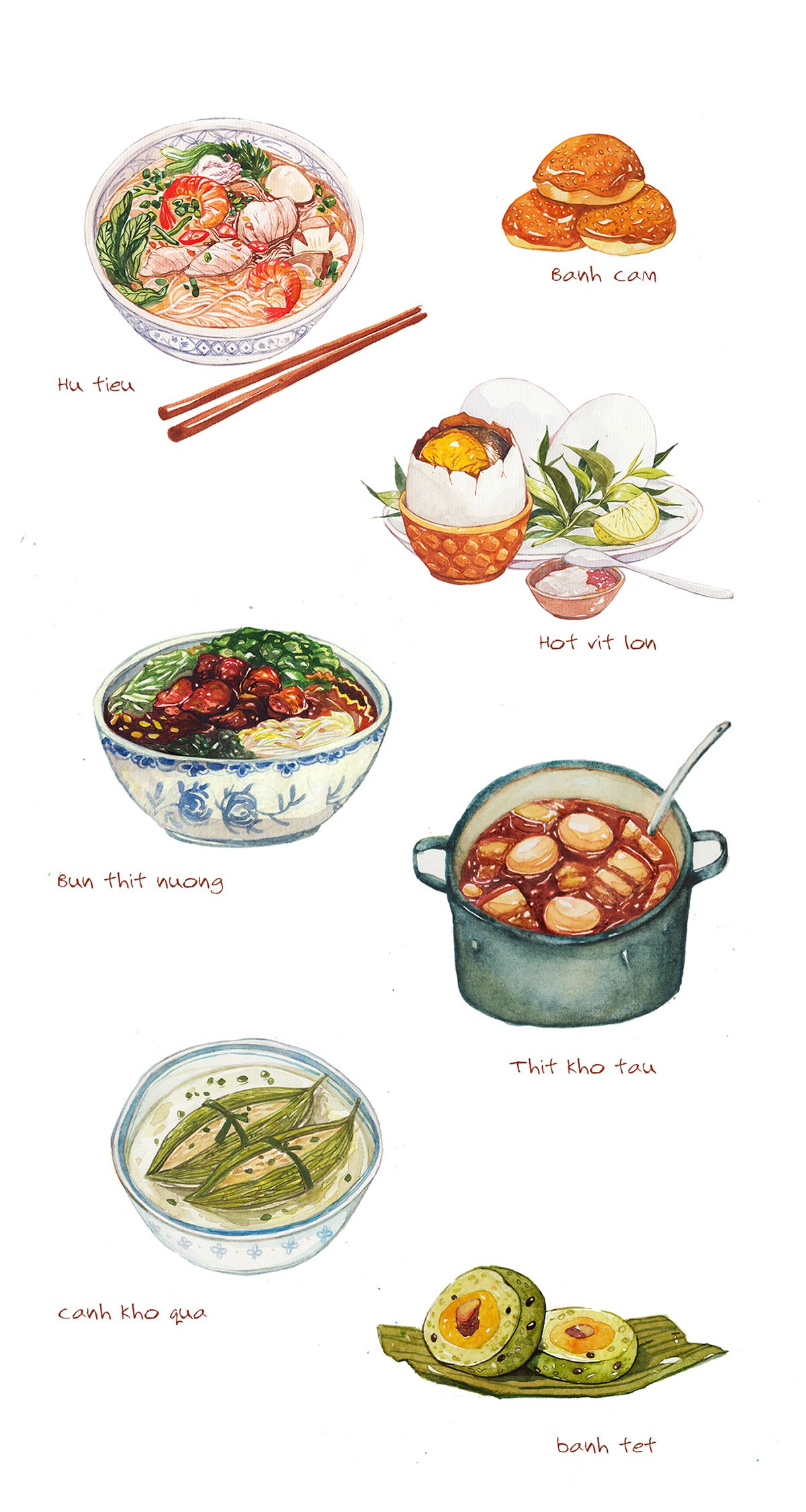 Vietnamese food illustration