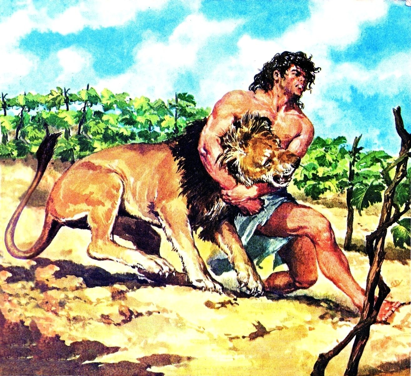 Samson Defeating The Lion This Was In The Children S
