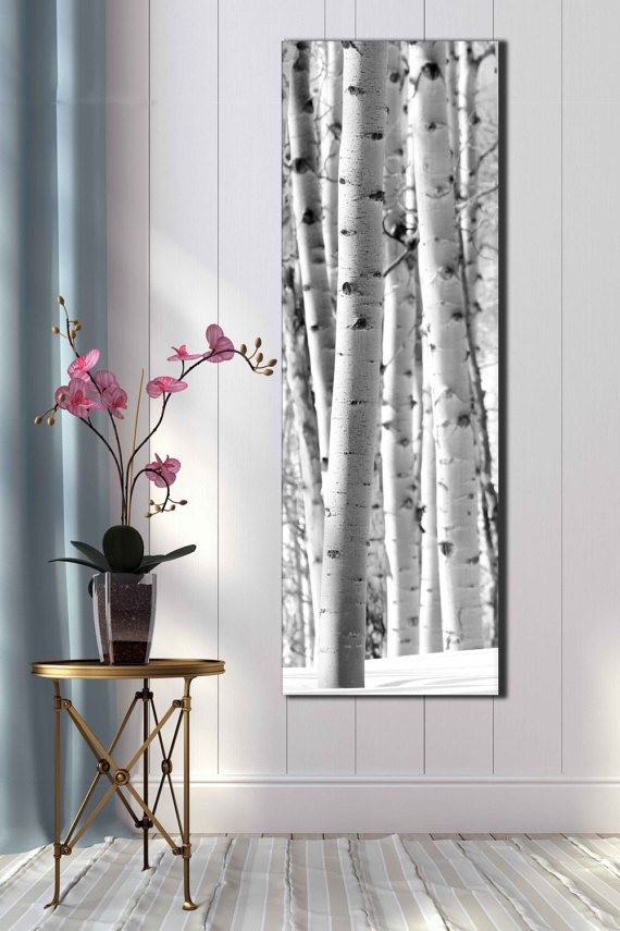 Tall 20x60 Inch Black And White Snow Aspen Photograph Vertical Large Wall Covering Nature Winter Sce