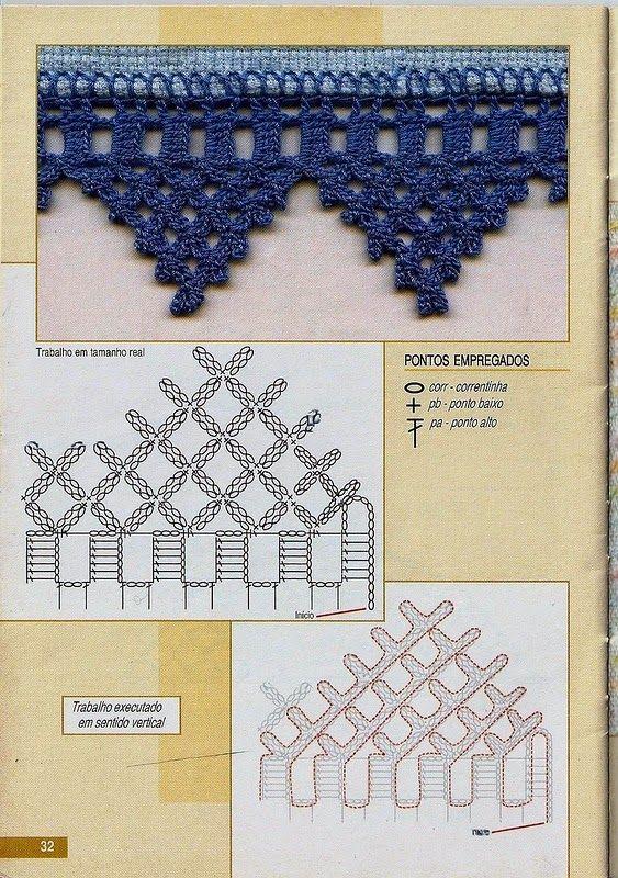 Crochet and arts: Crochet edges | filet a krajky | Pinterest | San ...