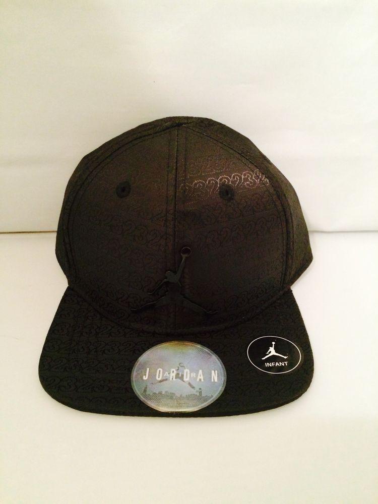 c4555185d010b NWT Air Jordan Black Baseball Cap Boys Infant 12-24 Months Steel Chrome  Logo  Nike