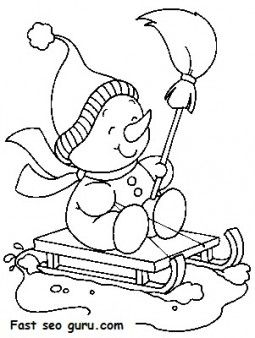 Printable Christmas snowman sledge coloring pages Printable