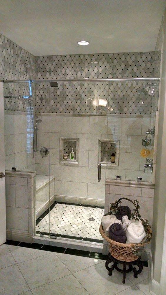 Master Bath Beautiful shower with Carrara Marble