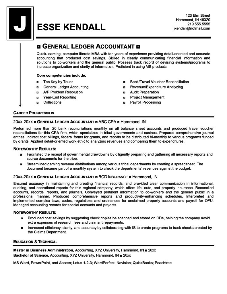 General Ledger Accounting Resume Sample Accountant And Letter