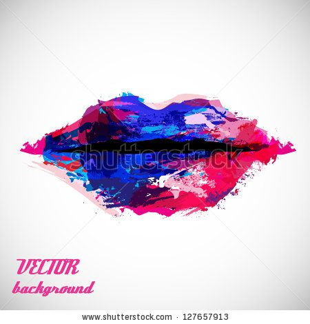 stock vector : Woman Lips Close Up, Created By Abstract Blots Isolated On Gray Background - Vector Illustration, Graphic Design Editable For Your Design