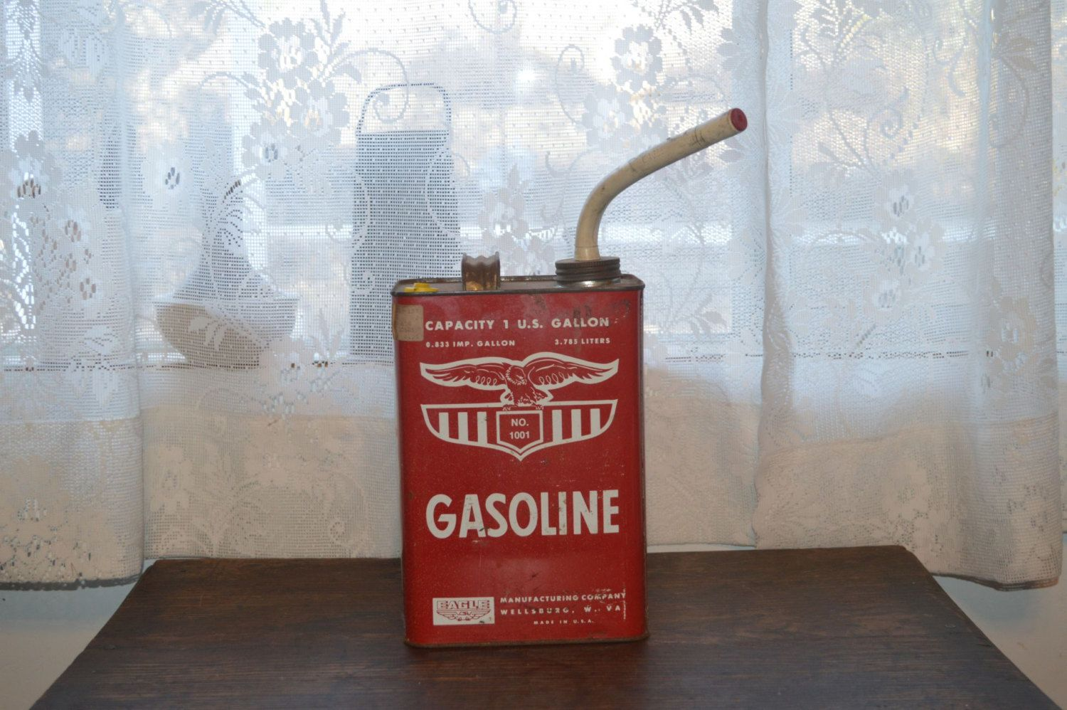 Vintage Eagle metal gas can red and white petroliana Gas