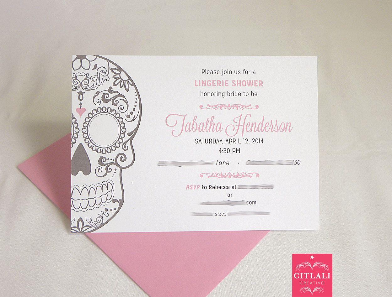 Lingerie Sugar Skull Bridal Shower Party Invitations Lingerie