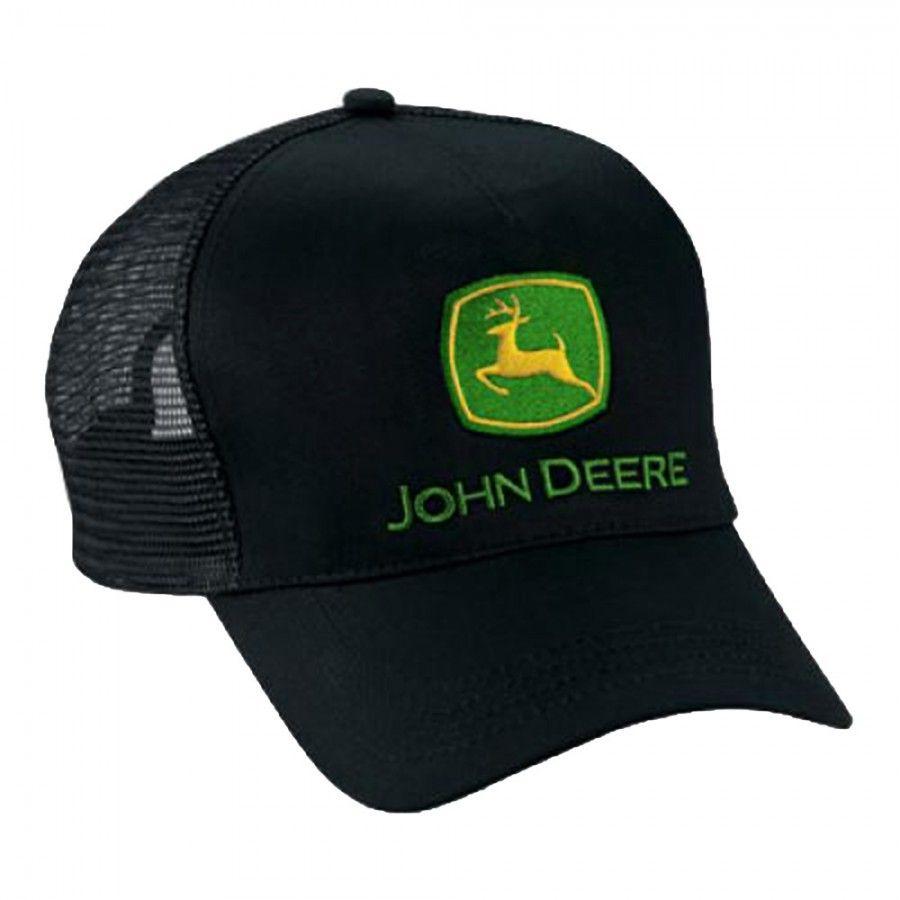 58e878c1a63 Original John Deere Logo Adjustable Black Mesh Hat