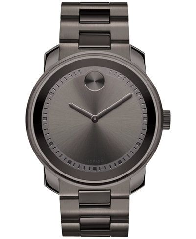 f358c7015 Movado Men's Swiss Bold Gray Ion-Plated Stainless Steel Bracelet Watch 43mm  3600259