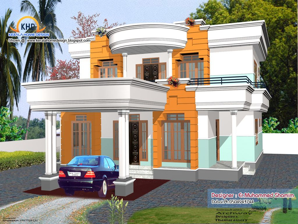 Home elevation designs in 3d kerala Kerala house design
