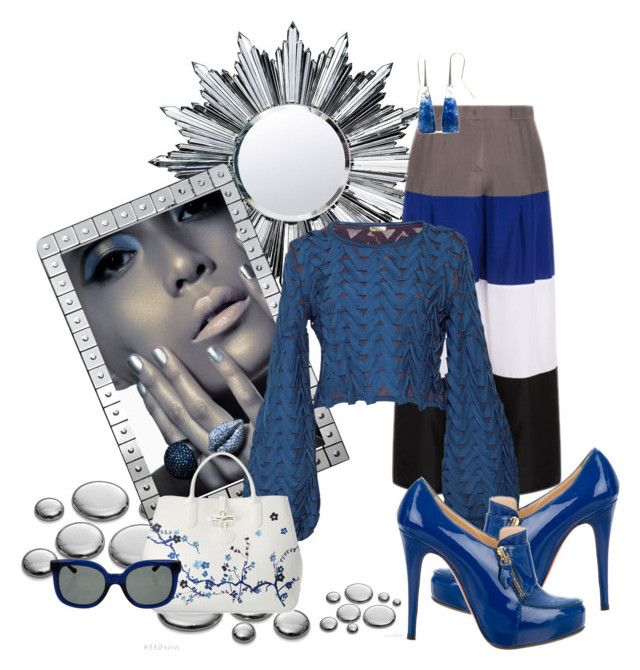 """Blue"" by lily0906 ❤ liked on Polyvore featuring Baccarat, Emporio Armani, Pepa Pombo, Christian Louboutin, Longchamp and Tory Burch"