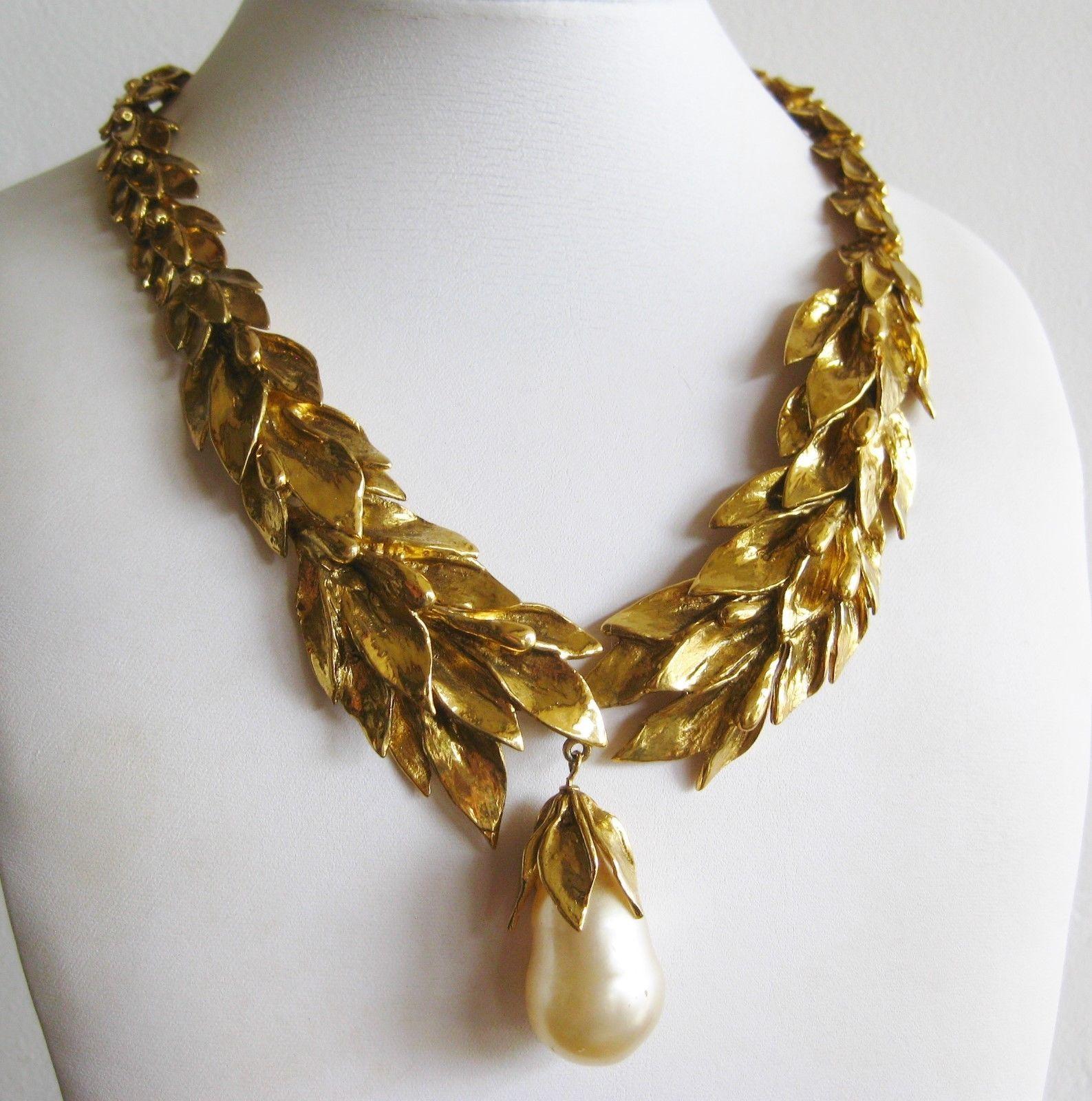 Vintage s ysl yves saint laurent french gold laurel leaves pearl