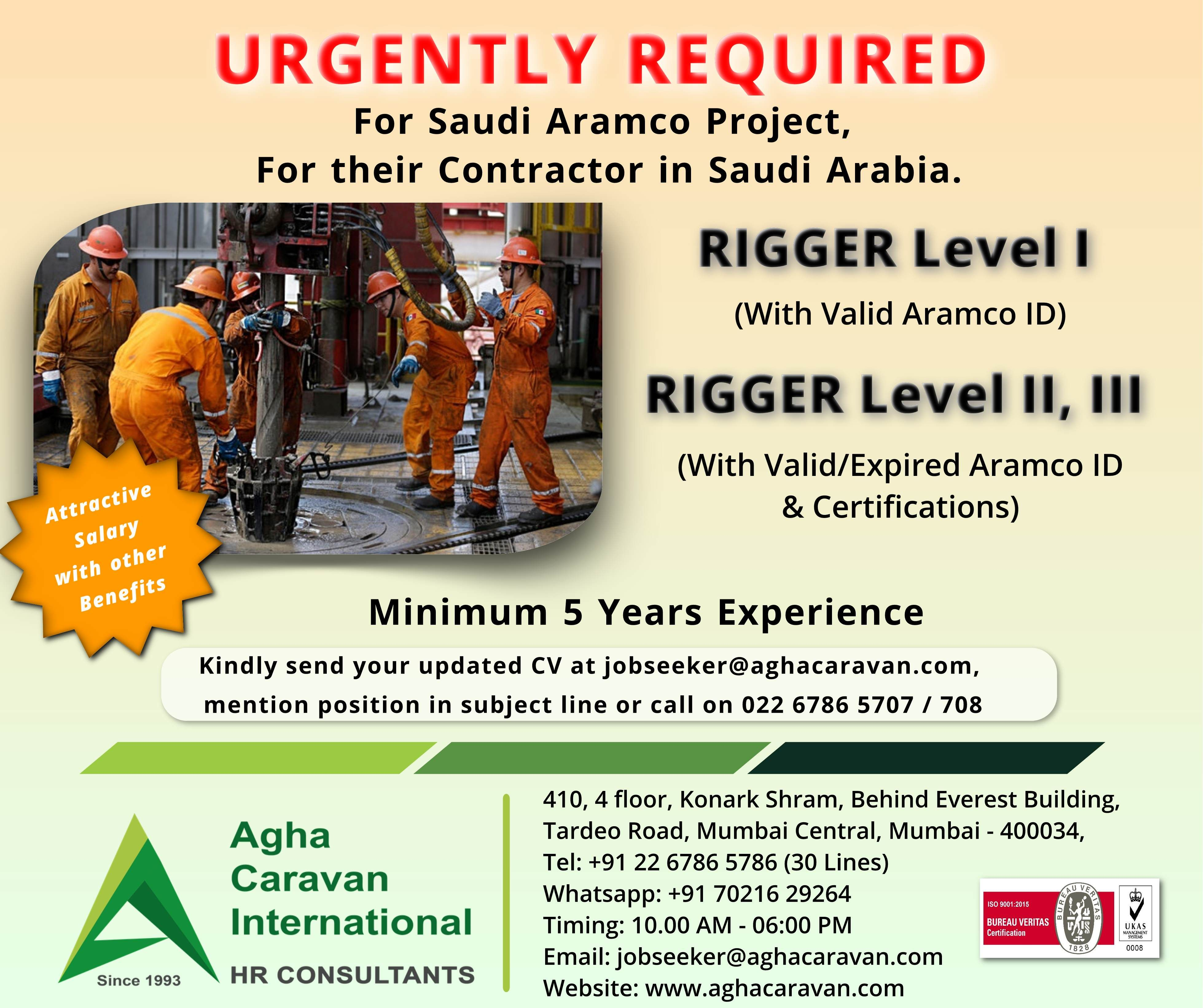 Urgently required #Rigger for Saudi #Aramco project for their