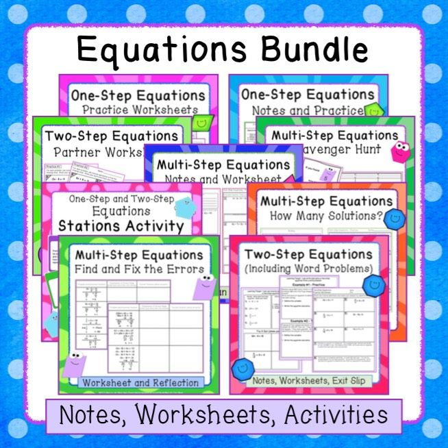 Equations Bundle (One, Two, and MultiStep) Notes