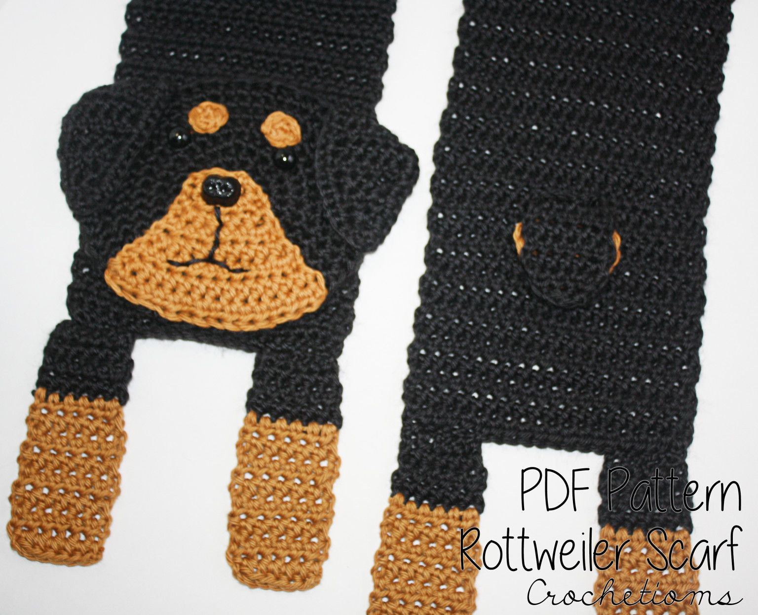 Love your Rottie? Make your own with this Rottweiler Scarf Crochet ...