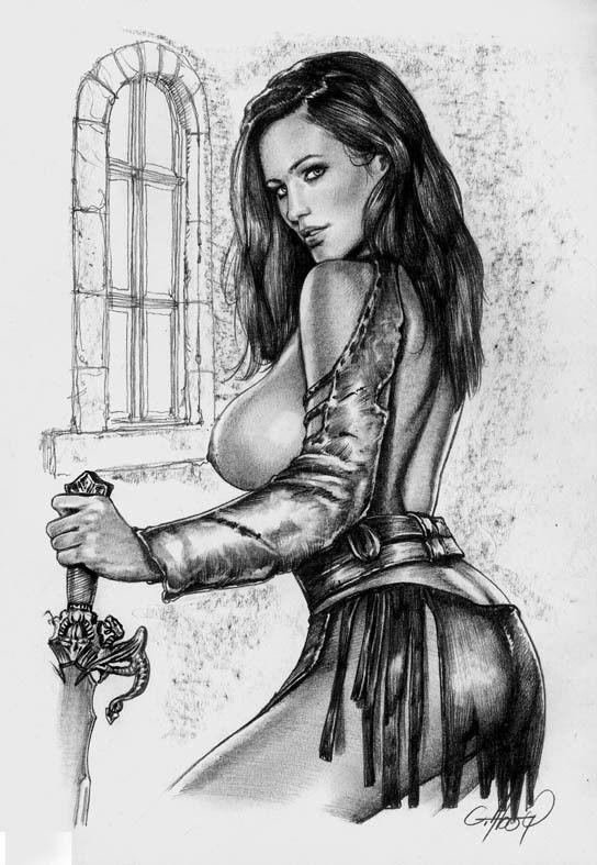 WARRIOR GIRL PIN UP EROTIC SEXY ORIGINAL ART( NOT A PRINT) CLAUDIO ABOY
