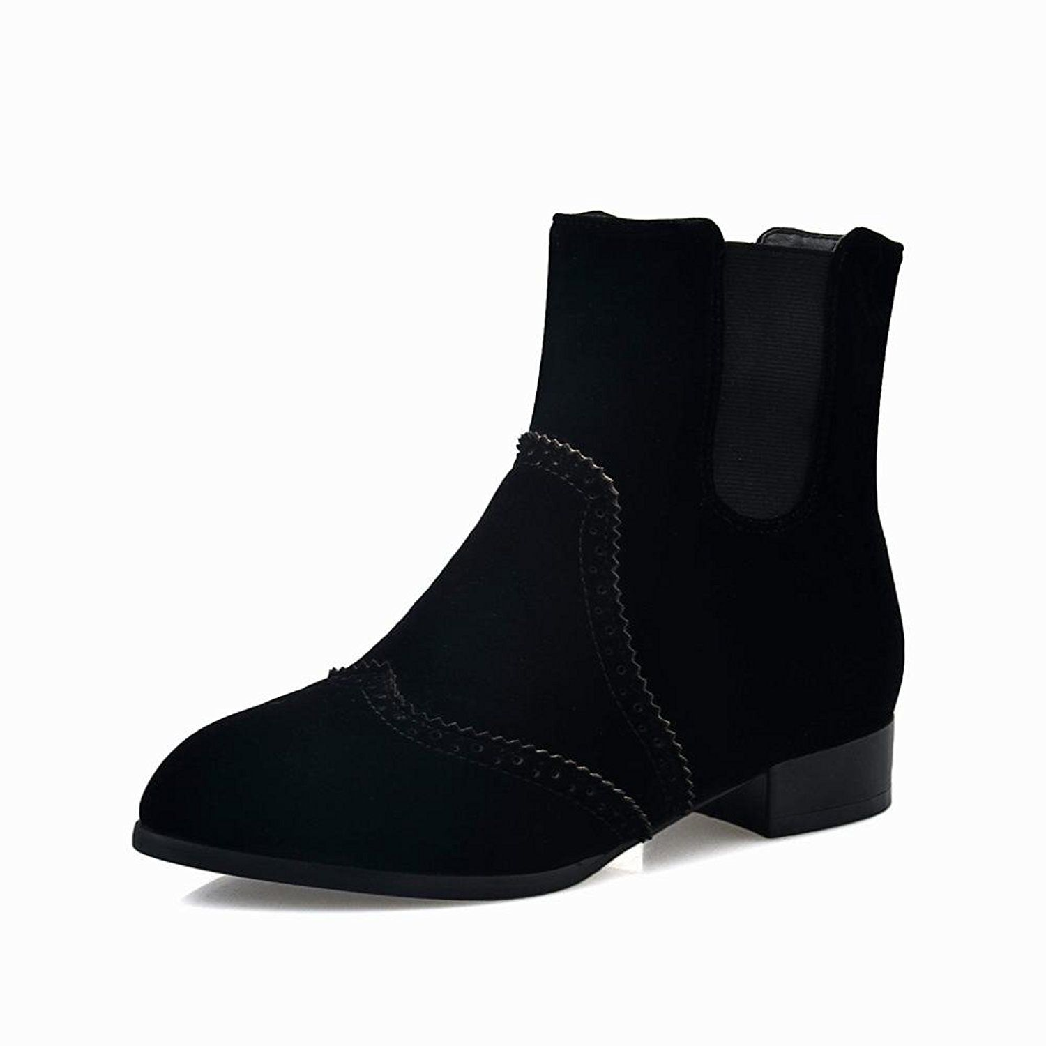 Charm Foot Women's Fashion Nubuck Chunky Low-heel Ankle-high Chelsea Boots ** Click image to review more details.
