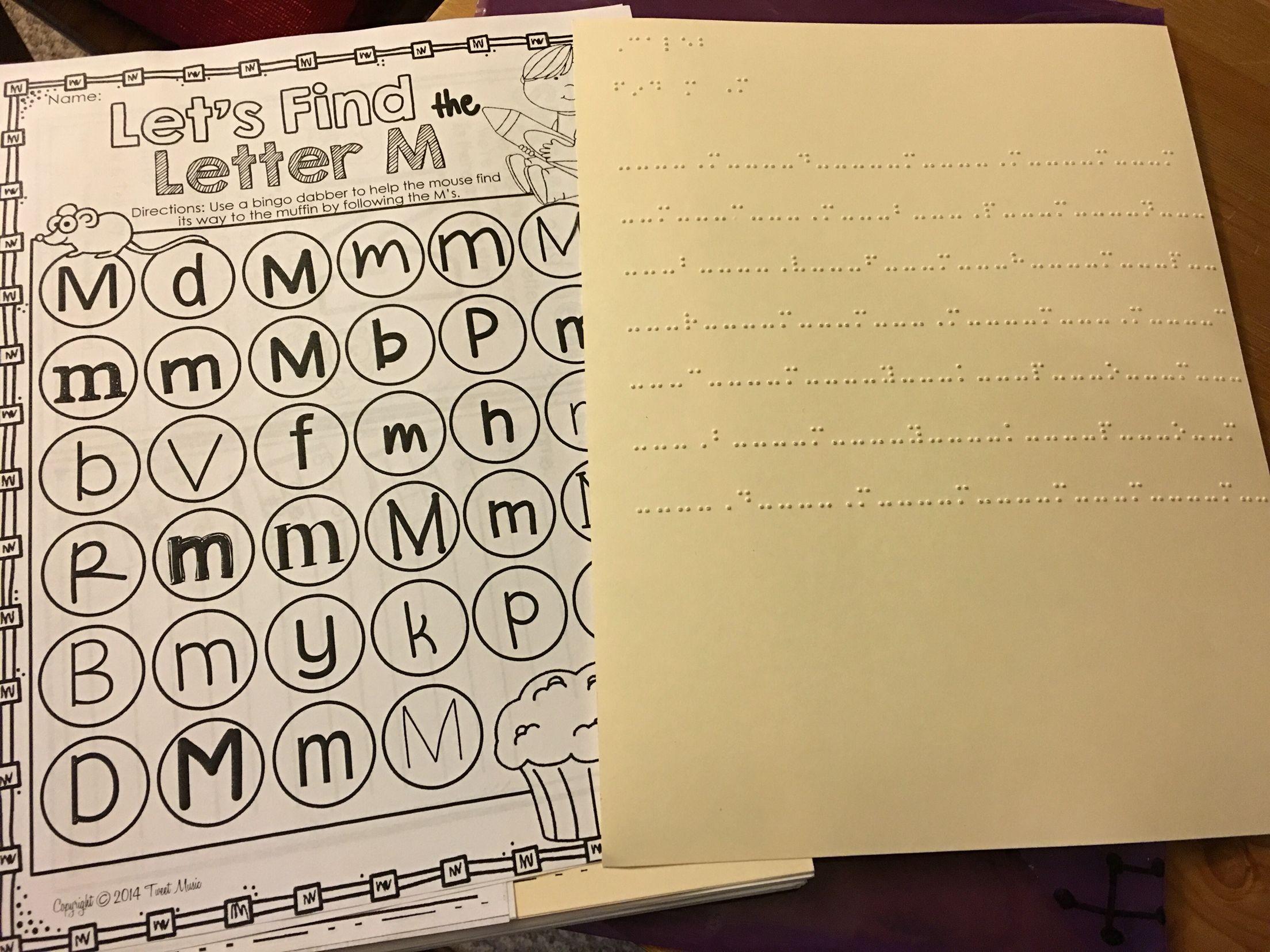 Letter Hunt Worksheet Kindergarten Braille Tracking