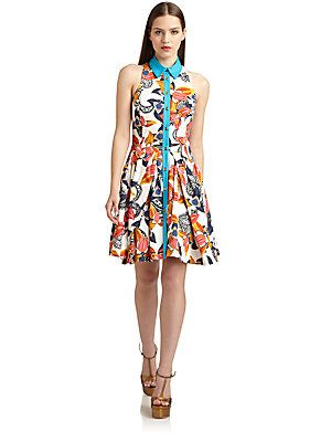 Thakoon Orchid Print Button-Front Dress