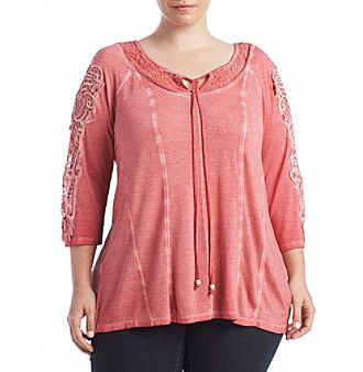 Oneworld® Plus Size Garment Dyed Knit Top