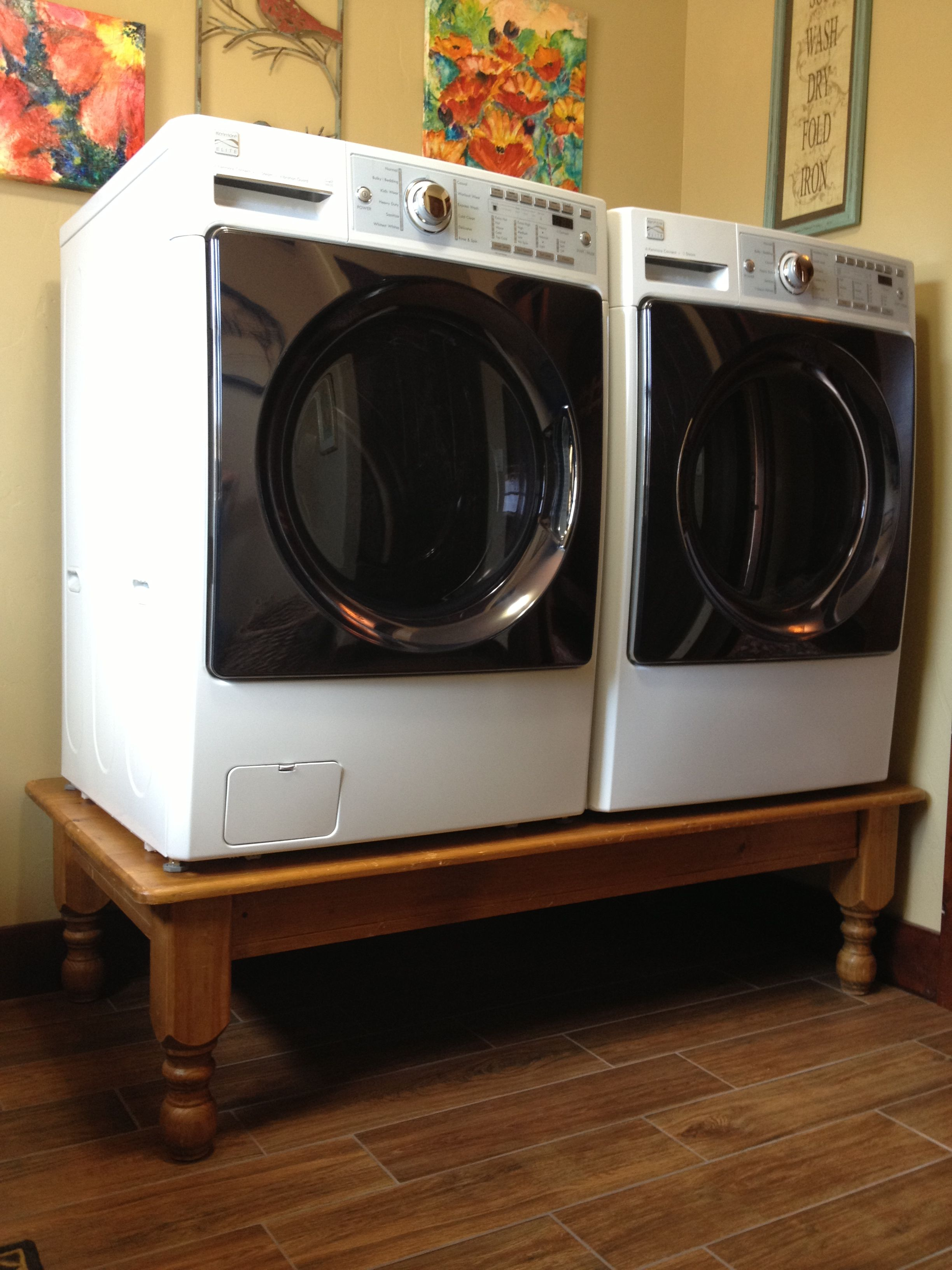 washer dryer on a coffee table diy pedestal much. Black Bedroom Furniture Sets. Home Design Ideas