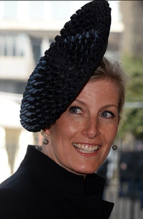 Sophie, Countess of Wessex's hat details during the service to celebrate the life and work of Sir David Frost, Westminster Abbey, London, UK, 13.03.14