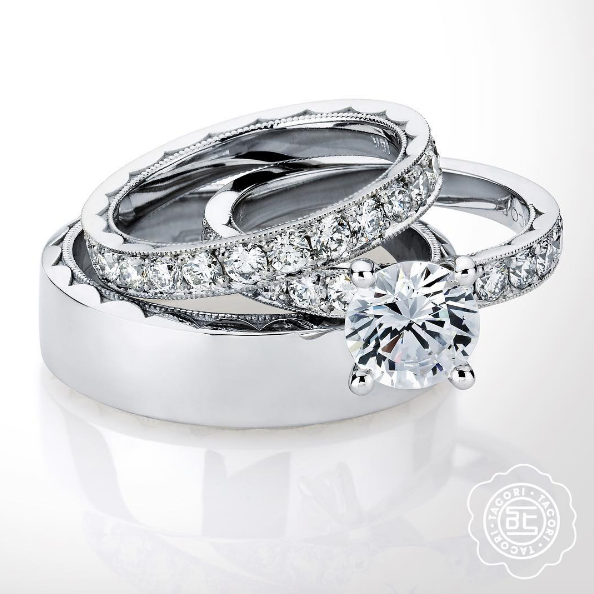 Why Stop At Matching Your Engagement Ring And Wedding Ring He Can Match Too Ask Us Wedding Rings Sets His And Hers Wedding Ring Trio Sets Wedding Ring Sets