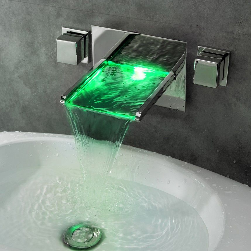 Koko LED Lighted Waterfall Wall Mounted Basin Tap | spa | Pinterest ...