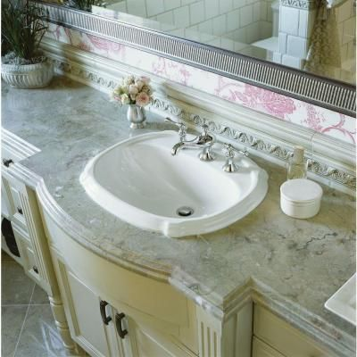 KOHLER Portrait Ceramic Drop-In Bathroom Sink in White with Overflow ...