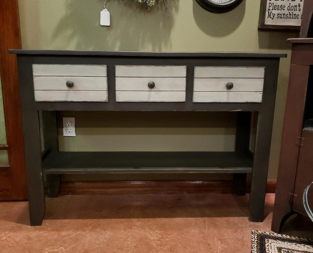 Rustic Sofa Table Console Table Rustic Three Drawer Table Etsy In 2020 Rustic Sofa Tables Farmhouse Console Table Console Table