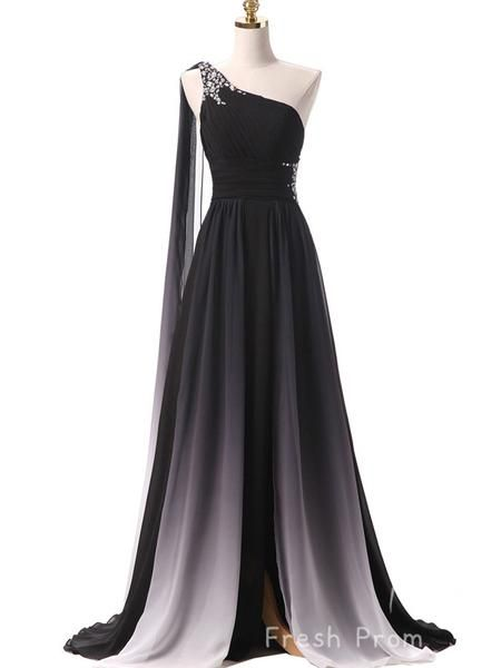 A-Line One Shoulder Ombre Chiffon Long Prom Dresses With Beading,FPPD403