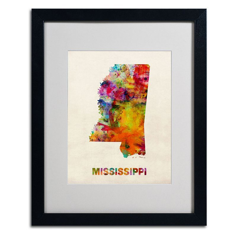 Trademark Global Watercolor State Framed Canvas Wall Art,